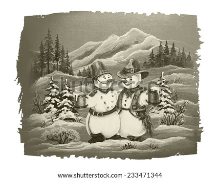 Vintage Retro Christmas Illustration. Cowboy Snowman and Soldier Snowman Christmas Card. - stock vector