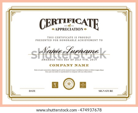 Vintage retro classic frame certificate background design template