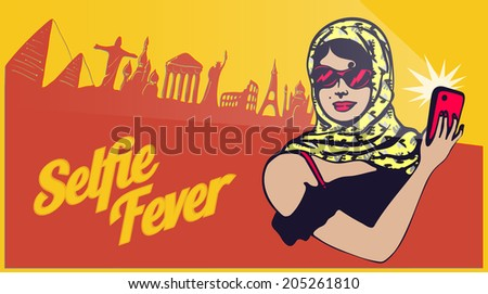 Vintage retro clipart: traveller tourist lady taking selfie with world sightseeing - stock vector