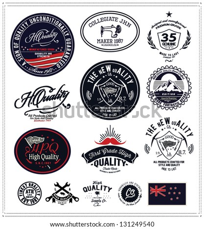 vintage retro Collection of Premium and High Quality labels - stock vector