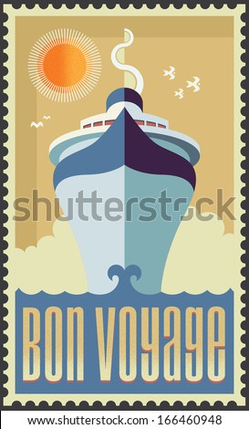 Vintage retro cruise ship - vector design - Holiday travel poster illustration - stock vector