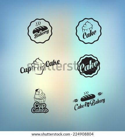Vintage retro cupcakes bakery badges and labels - stock vector