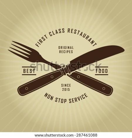Vintage Retro Cutlery Restaurant Seal - stock vector