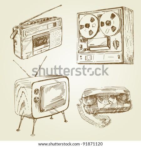 vintage, retro design - hand drawn set - stock vector