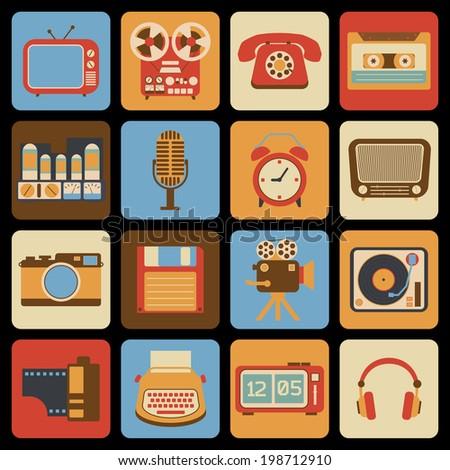 Vintage retro gadgets icons set of radio vinyl player alarm clock isolated vector illustration - stock vector