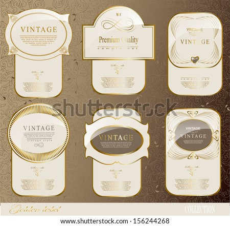 Vintage Retro gold label/can be used for invitation, congratulation or website layout vector - stock vector