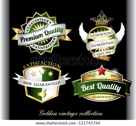 vintage retro golden quality labels - stock vector