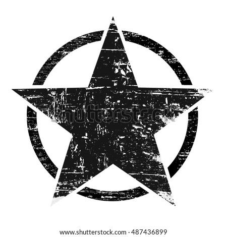 Vintage Retro Grunge Black Star Circle Stock Vector ...