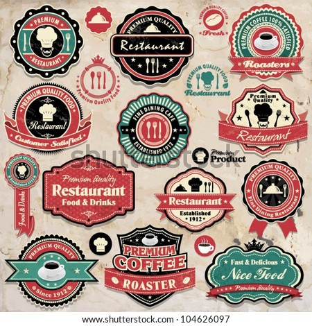Vintage retro grunge coffee and restaurant labels, badges and icons