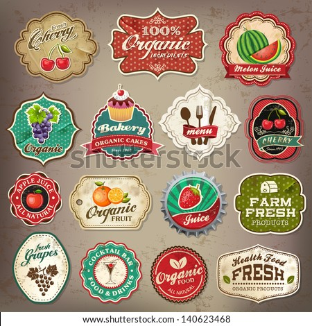 Vintage retro grunge restaurant and organic food labels, symbols and old papers elements Collection - stock vector