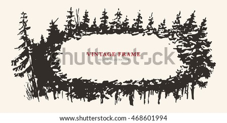 Vintage retro hand drawing forest nature frame template, background for design  wedding greeting cards, flyers, ecological magazine, website, newspaper, book, cover, t-shirt. Vector illustration.