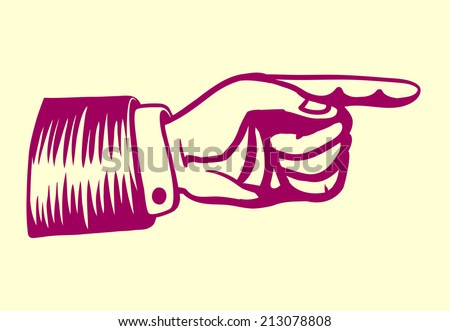Vintage retro hand with pointing finger vector illustration - stock vector