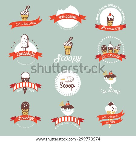 Vintage Retro Ice Cream Badges And Labels - stock vector