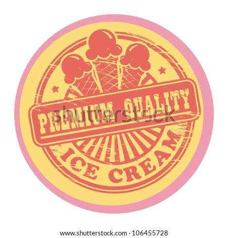Vintage retro ice cream label, vector illustration - stock vector