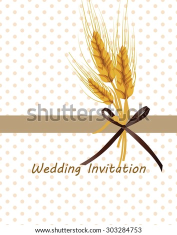 Vintage retro invitation with dots and Wheat ears in beige. Vector