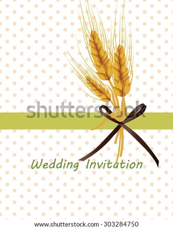 Vintage retro invitation with dots and Wheat ears in green. Vector