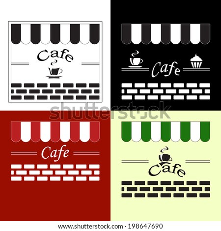 Vintage retro label set for cafe menu design, isolated on white, red, black and light yellow background, vector illustration. - stock vector