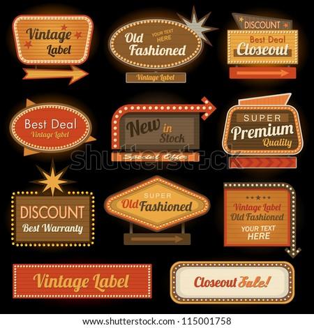 Vintage retro label signs - stock vector