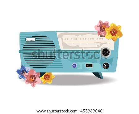 Vintage Retro music Radio Vector - stock vector