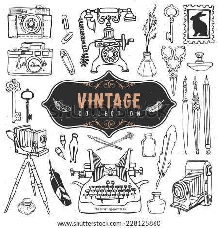 Vintage retro old things collection. Hand drawn vector illustrations. Outline vol.2 - stock vector