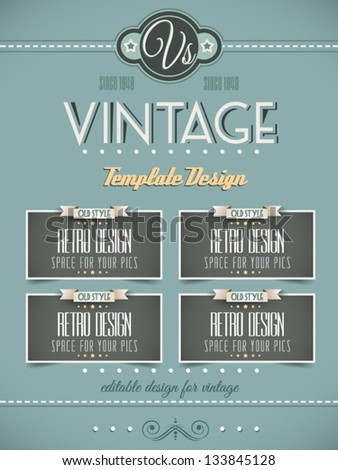 Vintage Retro Page Template Variety Purposes Stock Vector