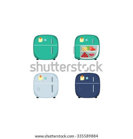 Vintage retro red closed and opened refrigerator full of food. Household appliances flat vector icon Illustration for mobile and website game or application in green and light-blue color.  - stock vector