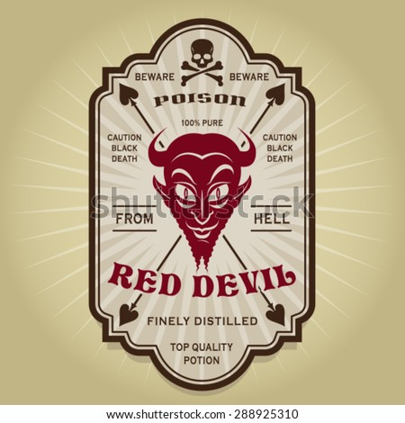 Vintage Retro Red Devil Label