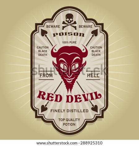Vintage Retro Red Devil Label - stock vector