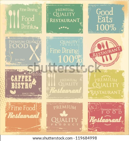 Vintage retro restaurant  labels in pastel colors - stock vector