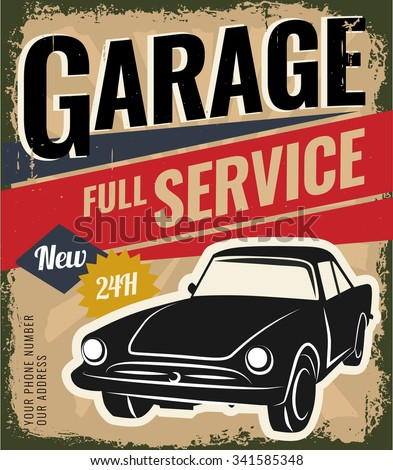 Vintage retro stile. Car repair and auto service vector flyer template. You can use it for grange background, banner, label. - stock vector