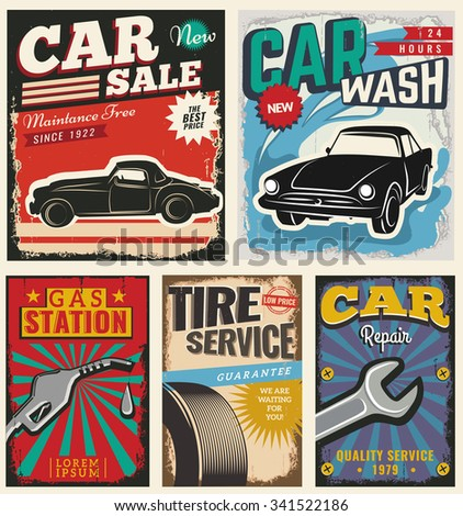 Vintage Retro Stile Set Vector Cars Stock Vector