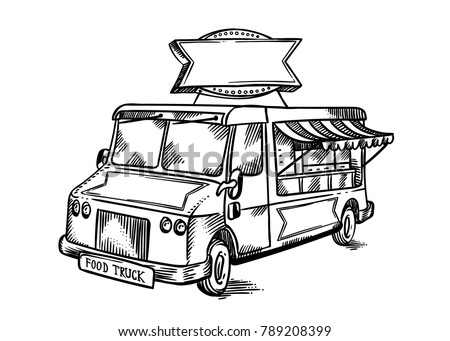 Vintage Retro Street Food Truck With Blank Company Sign Hand Drawn Line Art Vector Illustration