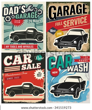 Vintage Retro Style Set Vector Cars Stock Vector 341519273