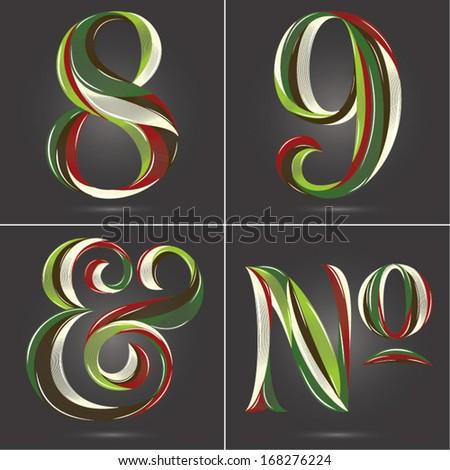 Vintage Retro Style Shiny Glossy Christmas Palette Figure Set 8 9 & Number Symbol - stock vector