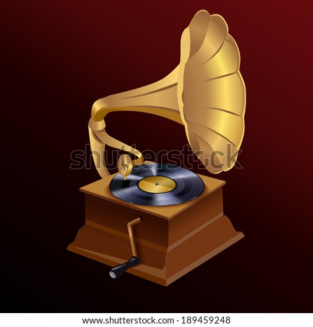 Vintage retro style vinyl turntable disc gramophone print template vector illustration