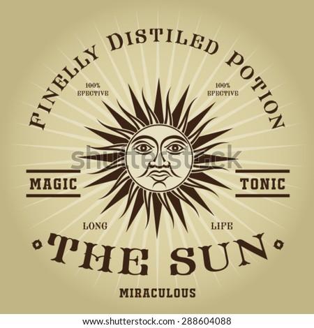 Vintage Retro The Sun Magic Tonic Seal - stock vector