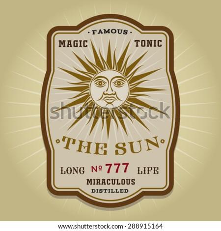 Vintage Retro The Sun Potion Label - stock vector