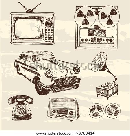Vintage Things Vector Vintage Retro Things Sketch