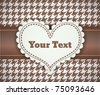 vintage retro vector cute frame with heart on the seamless tablecloth pattern - stock vector