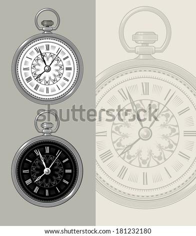 Vintage retro watch - pocket watch, clock face vector design. - stock vector