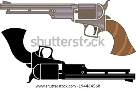 Vintage Revolver - stock vector