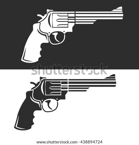 Vintage revolver icon vector illustration set of two