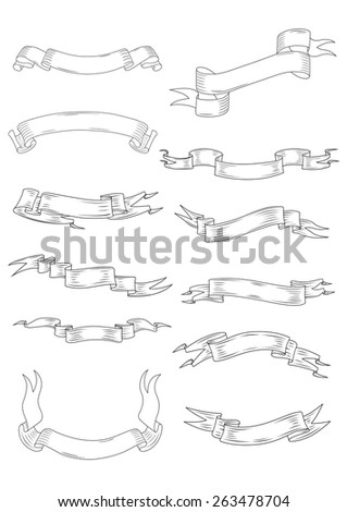 Vintage ribbon and parchment banners with waves and swirls isolated on white background for heraldic design - stock vector