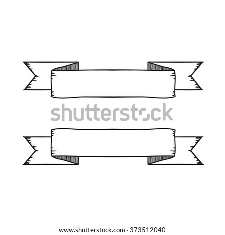 Vintage ribbon banner vector. Hand drawing style.