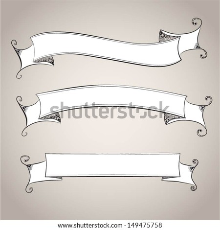 Vintage ribbon banners - stock vector