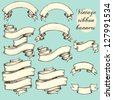 Vintage ribbon banners, hand drawn set - stock photo
