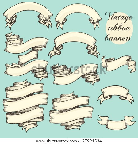 Vintage ribbon banners, hand drawn set - stock vector