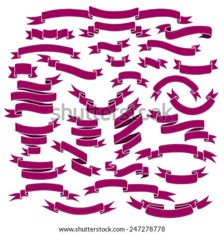 Vintage ribbon banners, hand drawn set - stock vector