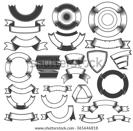 Vintage ribbons and banners collection. Ribbons and banners for logos, emblems and coats of arms. - stock vector