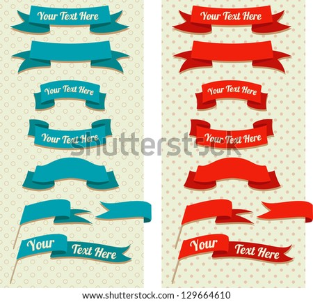 vintage ribbons and flags on pastel pattern - stock vector